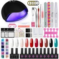 36/48W UV Lamp Nail Set For Manicure Kit 10 Color Gel Varnish Set Nail Lamp Machine Kit Nail File Tool Nail Extension Set