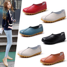 Genuine leather flats female loafers women shoes slip on plus size 35-42 leather loafers woman flats genuine leather wedges slip on shoes women flats loafers wedge casual height increasing flat walking shoes plus size 34 40