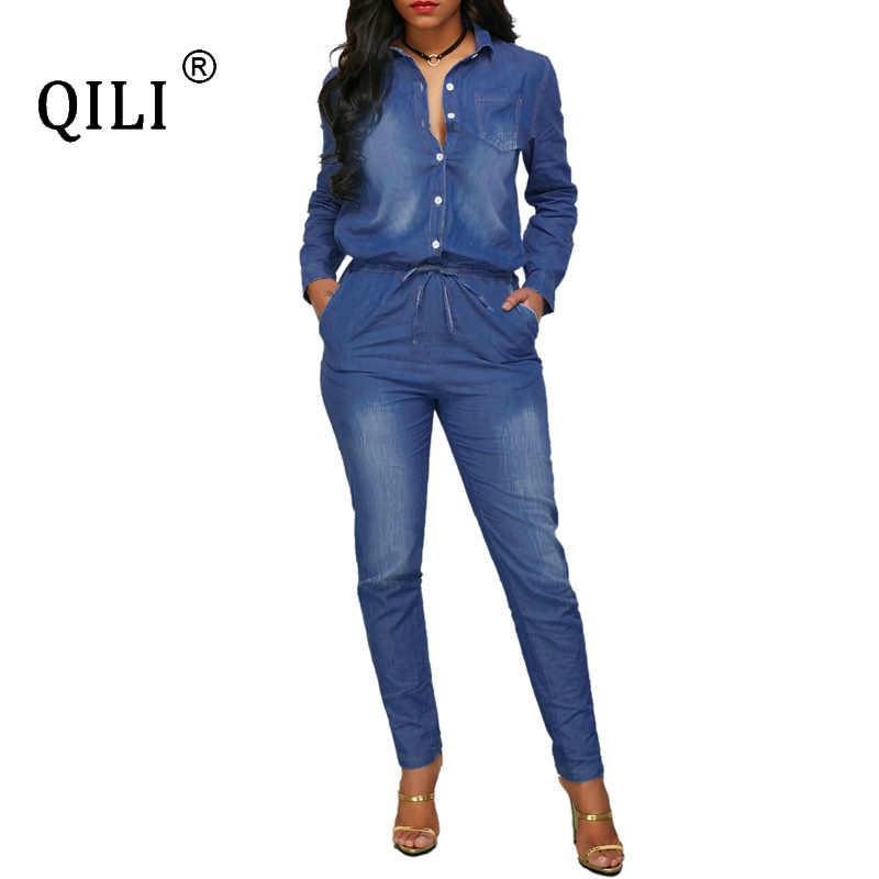 QILI новые женские джинсовые комбинезоны осенние длинные штаны комбинезон с длинными рукавами и пуговицами синий джинсовый Элегантный Модный комбинезон женский комбинезон