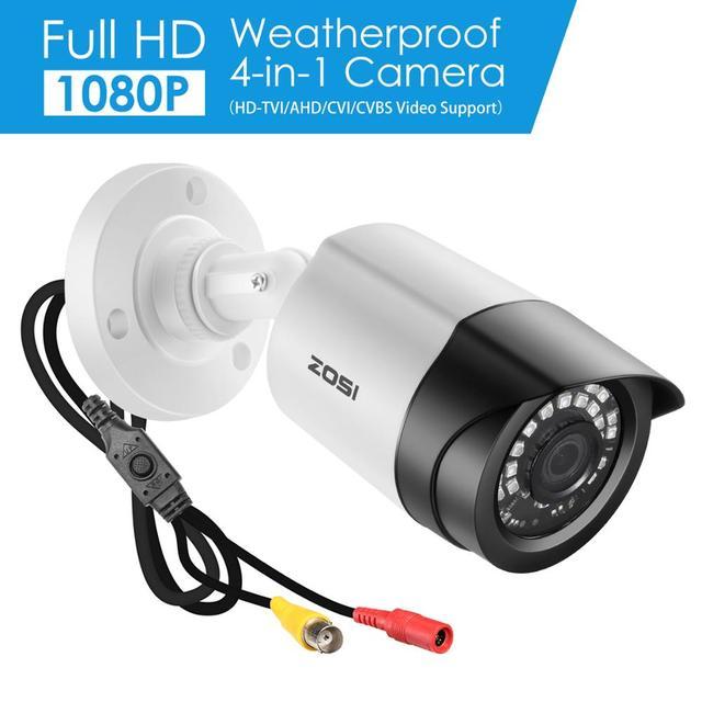 """ZOSI 4에서 1 CVBS AHD TVI CVI 1/2.7 """"CMOS 1080P CCTV 홈 감시 내후성 3.6mm 렌즈 IR 컷 총알 보안 카메라"""
