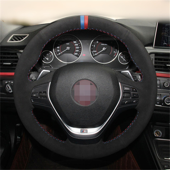 OLPAY DIY Black Suede Car Steering Wheel Cover for BMW F20 2012-2018 F45 2014-2018 F30 F31 F34 Soft Comfortable Durable