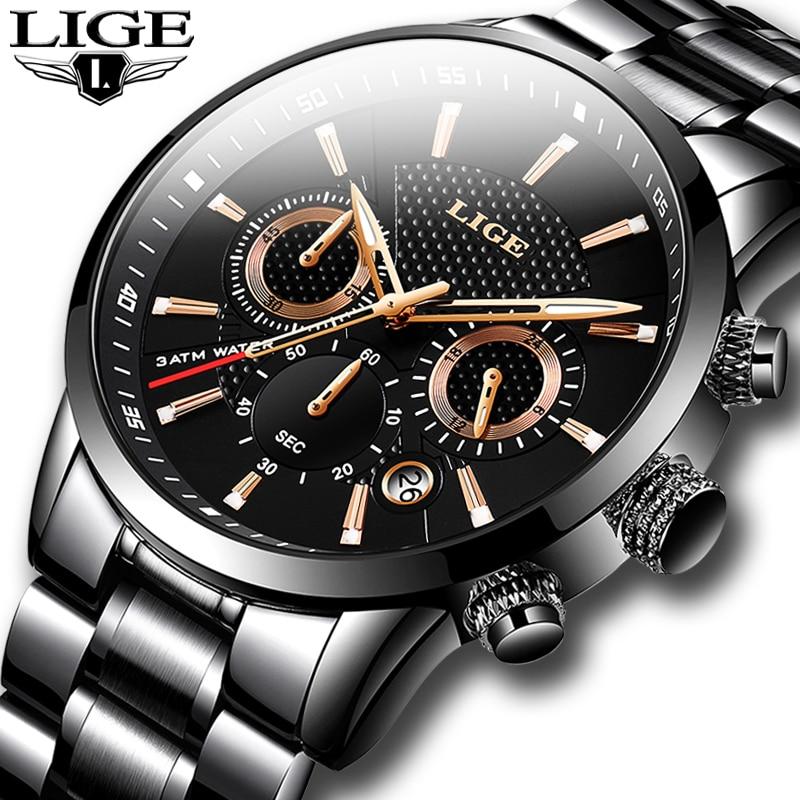 LIGE Mens Watches Top Luxury Brand Business Quartz Watch Men Military Sports Waterproof Dress Wristwatch Black Relogio Masculino