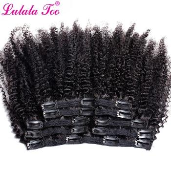 Афро кудрявые волосы на клипсах для наращивания 4B 4C бразильские волосы Remy натуральный цвет 7 шт./компл. 120 г для головы Lulalatoo