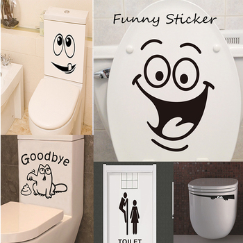 1pc Funny Toilet Sticker Creative WC Entrance Sign Door Wall Stickers Waterproof Public Place Home Bathroom Poster Wall Decals image
