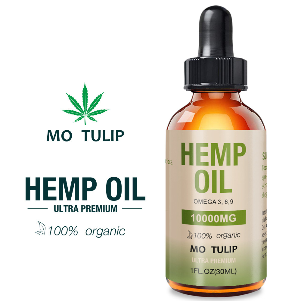 MO TULIP 30ml 10000mg Hemp CBD Organic Essential Oil Hemp Seed Oil Herbal Drops Body Relieve Stress Oil Skin Care Help Sleep