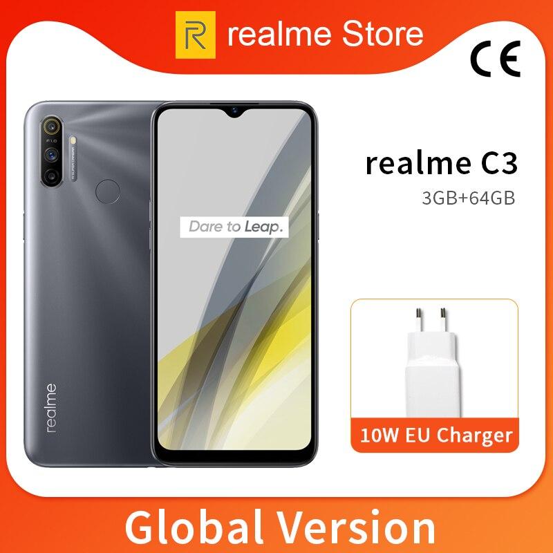 realme C3 Global Version 3GB 64GB 6.5'' Moblie Phone Helio G70 Octa Core 12MP Triple Camera Cellphone 5000mAh 10W EU Charger