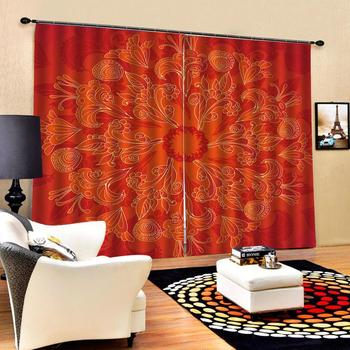 orange curtains Flowers print Chinese Customized 3D Blackout Curtains Living Room Bedroom Hotel Window curtains