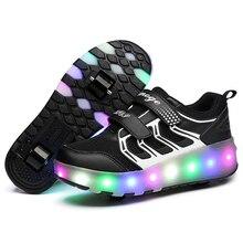 Светодиодный светящийся в темноте скейт обувь двойной роликовый шкив Роликовые кроссовки светящиеся кроссовки для детей и взрослых Зарядка от USB