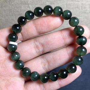 Настоящий 8,5 мм натуральный зеленый рутилированный кварц браслет для женщин и мужчин сильный кошачий глаз круглые бусины хрустальные ювели...