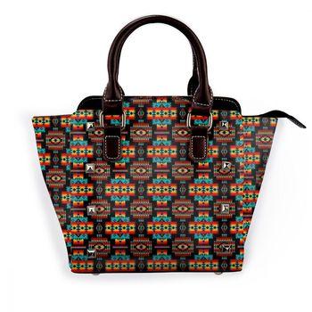 NOISYDESIGNS Vintage Leather Female Top-handle Bags Rivet Larger Women Bags Tribes Flower Shoulder Bag Messenger Bag Bolsas