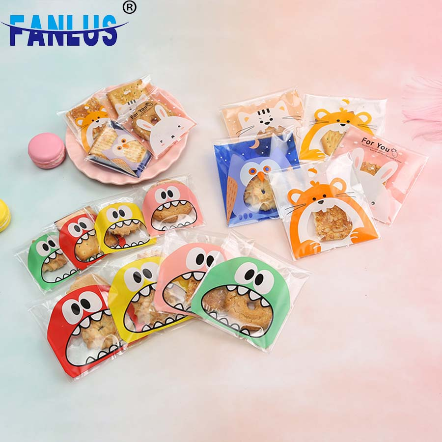 100pcs Cute Big Teech Mouth Monster Plastic Bag Wedding Birthday Cookie Candy Gift Packaging Bags OPP Self Adhesive Party Favors