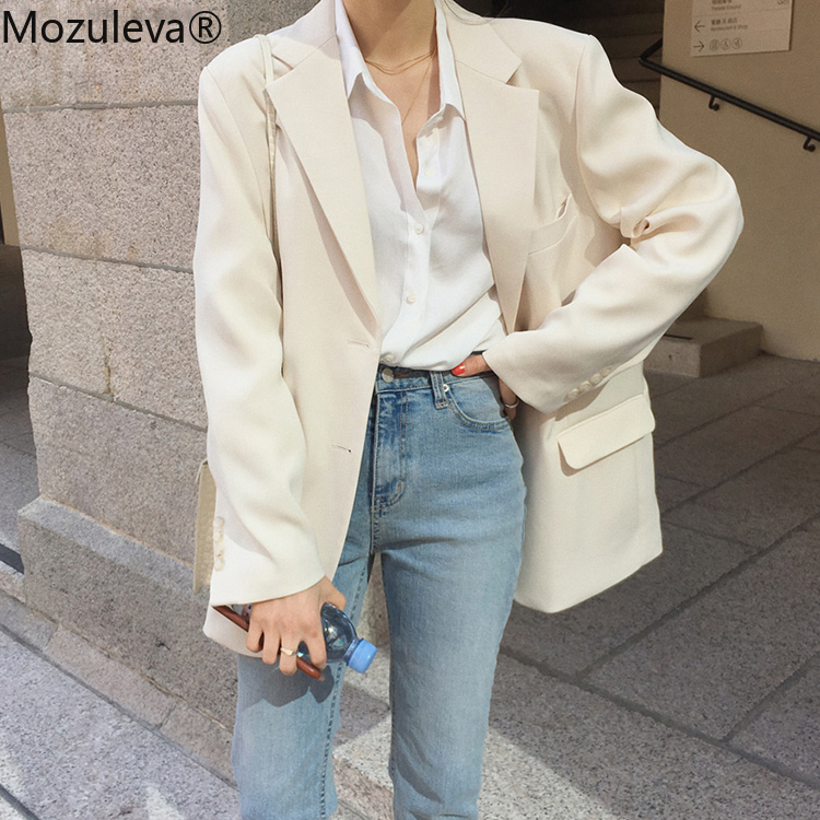 Mozulevat Loose Outerwear Women Suit Jacket Spring Summer Female Jacke  2020 Elegant Chic Single-breasted Women Blazer Femme