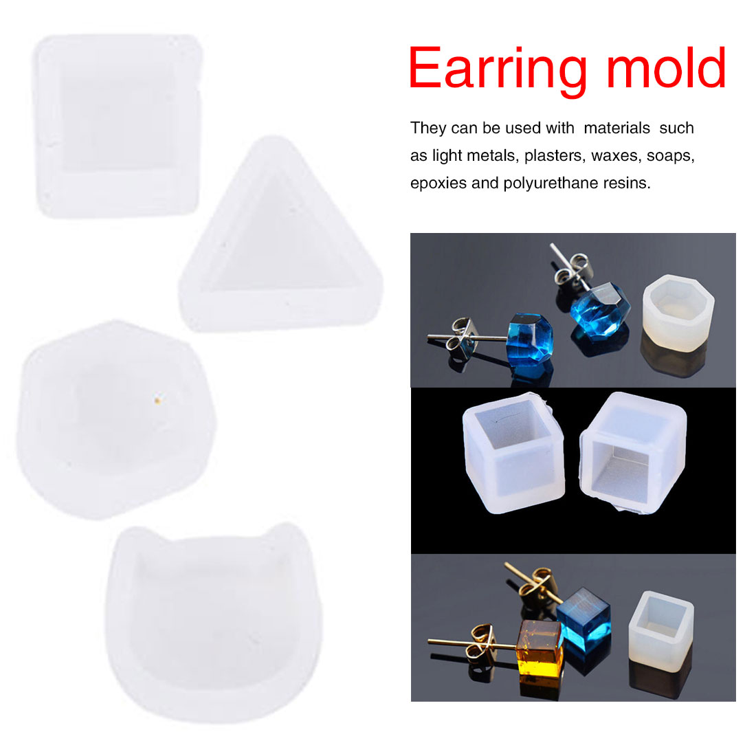 Jewelry-Making-Tools Earrings Mold Pendant Bracelet Resin Silicone 2pcs/Set for Women