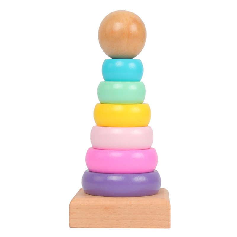 Arco Iris apilamiento anillo Torre apilamiento plegable taza Stapelring bloques de madera de plástico para niños de juguete de bebé juguetes infantiles GYH