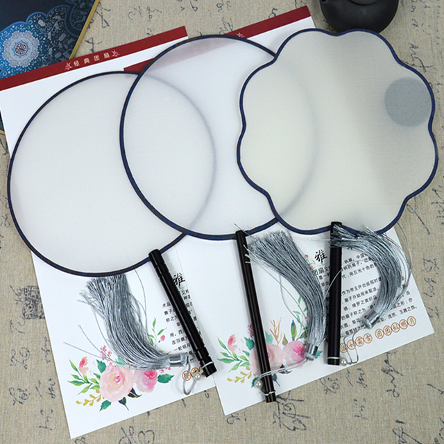 Silk Fan Round Wood Handle Traditional Chinese Fan for Coloring Painting DIY