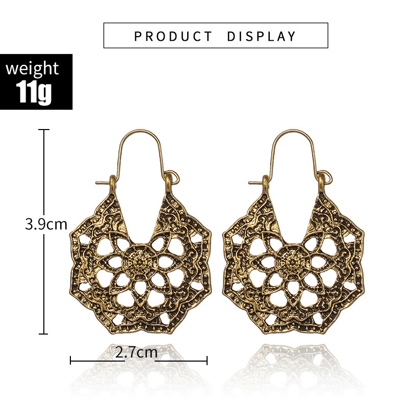 Hec189fbb414e425d93be81b43a8370e6j - HuaTang Vintage Gold Silver Color Metal Dangle Hollow Earrings for Women Geometric Carved Ethnic Earring Indian Jewellery brinco