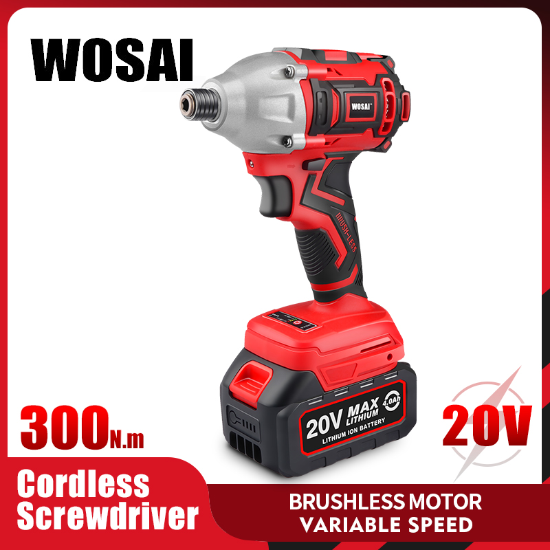 WOSAI 20V Electric Screwdriver 300NM Brushless Cordless Screwdriver Impact Drill Tool Bag Variable Speed Rechargeable Drill
