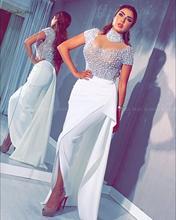 2020 White Pearls Arabic Kaftan Evening Dress Short Sleeves High Neck Dubai Formal Gowns Long Ladies Prom Dress Plus Size