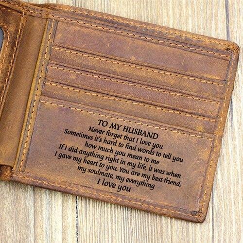 Para o meu marido Cartão RFID Bloqueio Minimalista de Couro Magro Dos Homens Bifold Bolso Frontal esposa ao marido na Caixa de Presente
