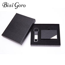 BISI GORO 2019 Gift Card Holder Set RFID Card Case With Box Key Holder Men and Women Smart Wallet Multifunctional Anti-theft Box(China)