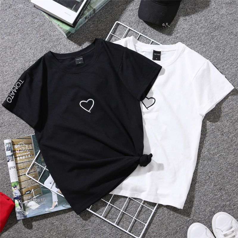 2019 Summer Couples Lovers T-Shirt For Women Casual White Tops T-shirt T Shirt Heart Embroidery Printing Female