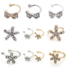Fashion U Clip Ear Bone Clip Inlaid Crystal Bow Flower Earless Ear Clip Female Statement Jewelry Accessories Factory Gift WD462 women s fashion rhinestone inlaid hollow out u style ear bone clip golden siilver
