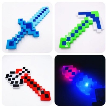HOT 35cm Minecrafted Blue Diamond Sword ax Glow sound plastic Toy Sword Boys Bow arrow LED light Toys kids birthday party gift