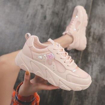 Zapatillas de deporte informales de suela gruesa con cordones y plataforma para mujer de marca 2019, zapatillas de deporte de alta calidad para AE-13