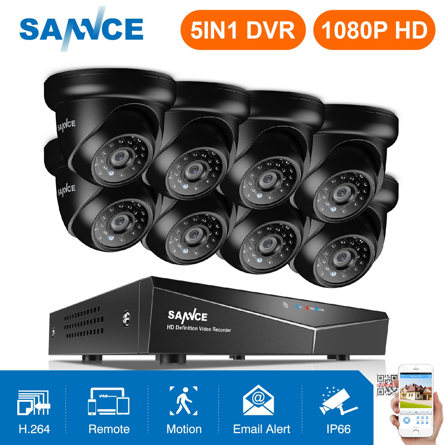 SANNCE 8CH 1080P Video Security System 5IN1 1080N DVR Mit 4X8X1080 P Outdoor Wetterfeste CCTV home Video Überwachung Kameras