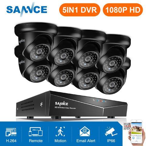 sannce 8ch 1080 p video sistema de seguranca 5in1 1080n dvr com 4x8x1080 p ao