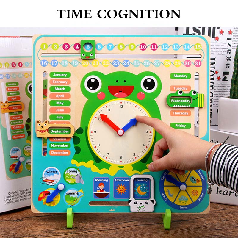 Montessori jouets bébé saison météo calendrier horloge temps Cognition éducation préscolaire en bois aides pédagogiques jouets pour enfants