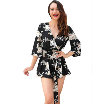 Summer Europe And America WOMENS Half-sleeve Shirt V-neck Loose-Fit Onesie Shorts One-piece Jumpsuit Streetwear
