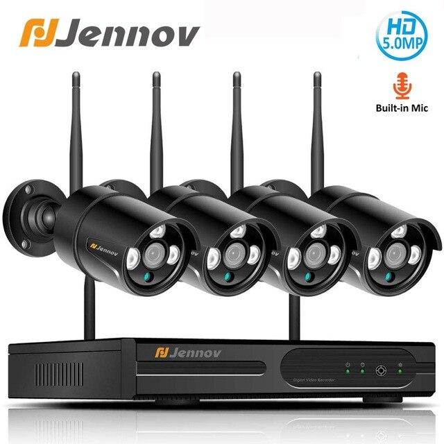 Jennov H.264 5MP 4CH Домашняя безопасность беспроводная камера системы видеонаблюдения набор камера наблюдения WIFI NVR Беспроводная 1080P IP камера наружная IR Cut