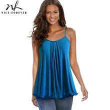 Nice-forever – t-shirt sans manches à col carré pour femme, décontracté, ample, été, bty387