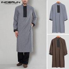 INCERUN Men Muslim Clothing Arabic Islamic Kaftan Long Sleeve Patchwork Vintage Jubba Thobe Saudi Arabia Dubai Robes 2019