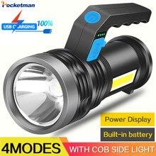 Lampe de Poche Portable LED Rechargeable PAR USB Torche Lumineuse SUPERBE Longue Portée lampe de poche extérieure Petite Lampe Légère Avec La Lumière Latérale