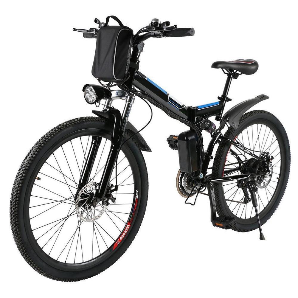 26 Inch Electric Bike Bicycle Mountain Bicicleta Full Suspension Alluminium Folding Frame 21Speed Mechanic Brake Road Bicycle