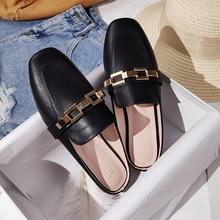 Klapki damskie outdoor klapki damskie płaskie Muller pantofle damskie modne sandały 2021 nowe modne skórzane buty tanie tanio RIVETED Ze skóry z mikrofibry CN (pochodzenie) Płaskie z kapcie Niska (1 cm-3 cm) Podręczne Pasuje na mniejsze stopy niezwykle Proszę sprawdzić informacje o rozmiarach ze sklepu