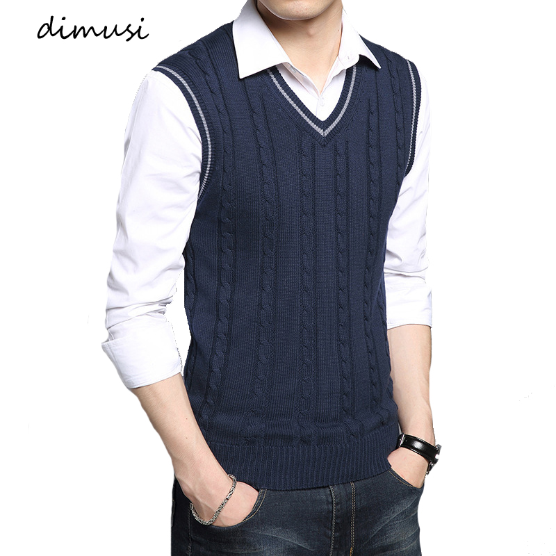 DIMUSI Winter Mens Vests Sleeveless Knitted Warm Waistcoats Casual Men Slim V-Neck Pullovers Uniform Sweater Vests Mens Clothing