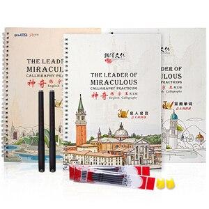 3 книги итальянский Курсив для детей и взрослых 3D паз Авто сухой Повтор тетрадь для практики ручного письма английское слово художественная...
