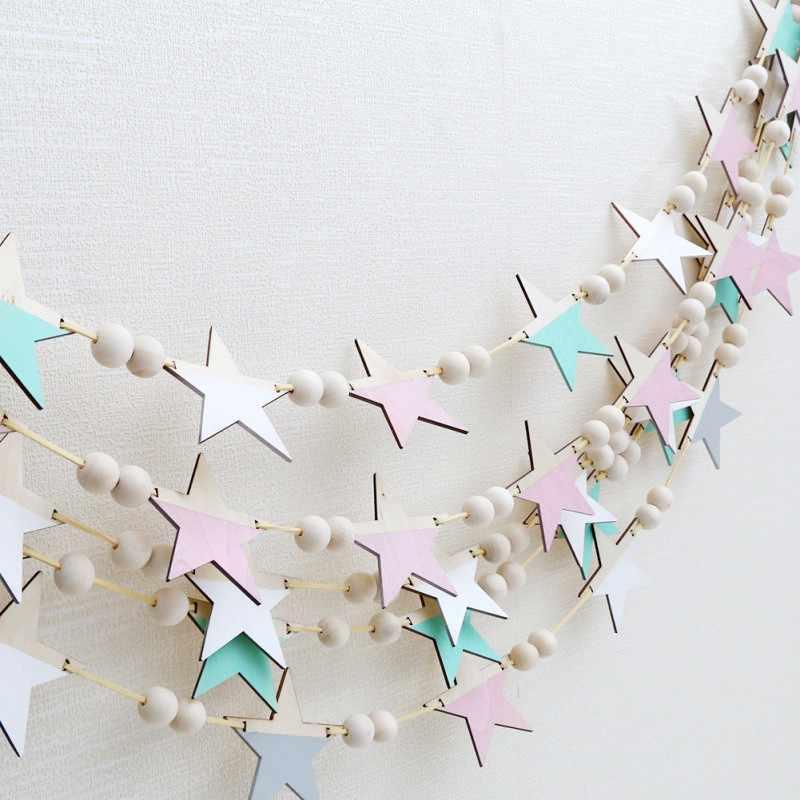 Nordic styl drewniane gwiazdy wiszące dekoracji unikalny pokoju dziecka Drewniany koralik wiszące dekoracje