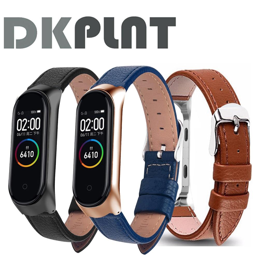 Correa de reloj inteligente Xiaomi Mi band 4/3/5, correa de cuero negro con carcasa de oro rosa para pulsera inteligente xiaomi mi Band 5/4/3