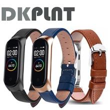 Kleurrijke Leather Black Rose Gold Case Smart Horloge Band Voor Xiaomi Mi Band 4/3/5 Band Voor Xiaomi Mi Band 5/4/3 Armband Riem