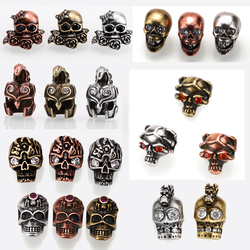 Charm Beads vintage Spacer Beads gothic Skull sparta Helmet 4mm Big Hole gold steel copper Bead for DIY Bracelet accessories