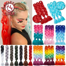 Hair-Packs Braiding-Hair Pink Lihui Bulk Purple Synthetic Ombre Grey 24-Cosplay Party