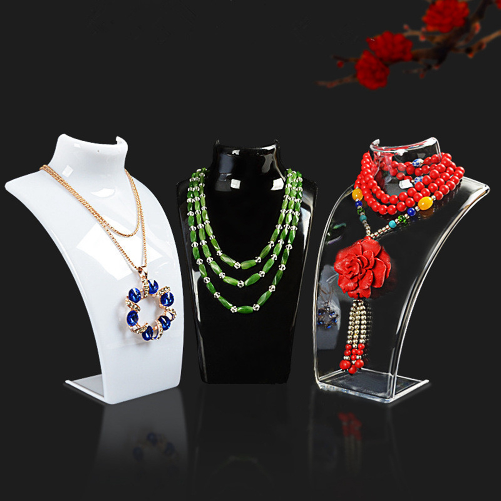 Acrylic Jewelry Stand Neck Model Mannequin Necklace Display Stand Pendant Earrings Display Shelf Sweater Chain Ear Studs Holder