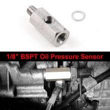 Sensor de presión de aceite BSPT de 1/8 pulgadas de acero inoxidable, adaptador en T a NPT, medidor de línea de alimentación Turbo, T