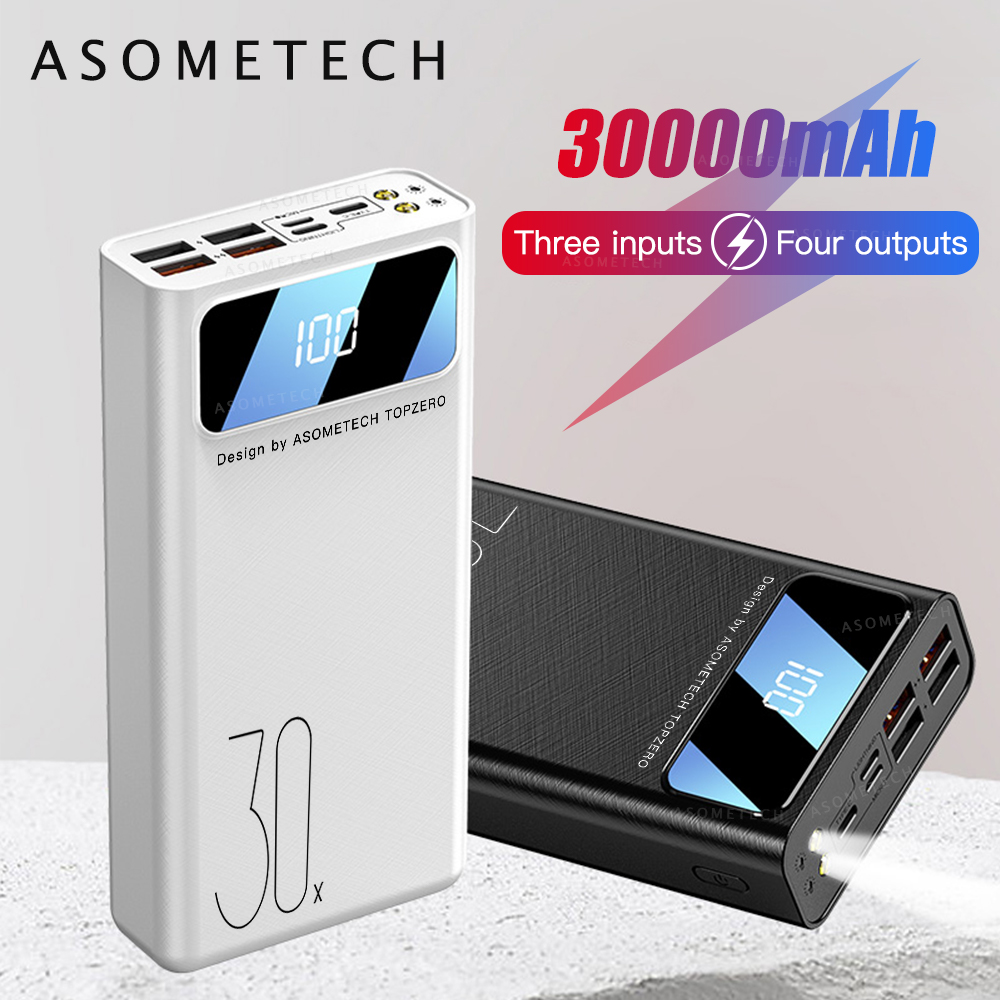 30000mAh Power Bank 4 USB Outputs LED Portable Powerbank USB Type C <font><b>30000</b></font> <font><b>mAh</b></font> Poverbank External <font><b>Battery</b></font> Pack For Phone Tablet image