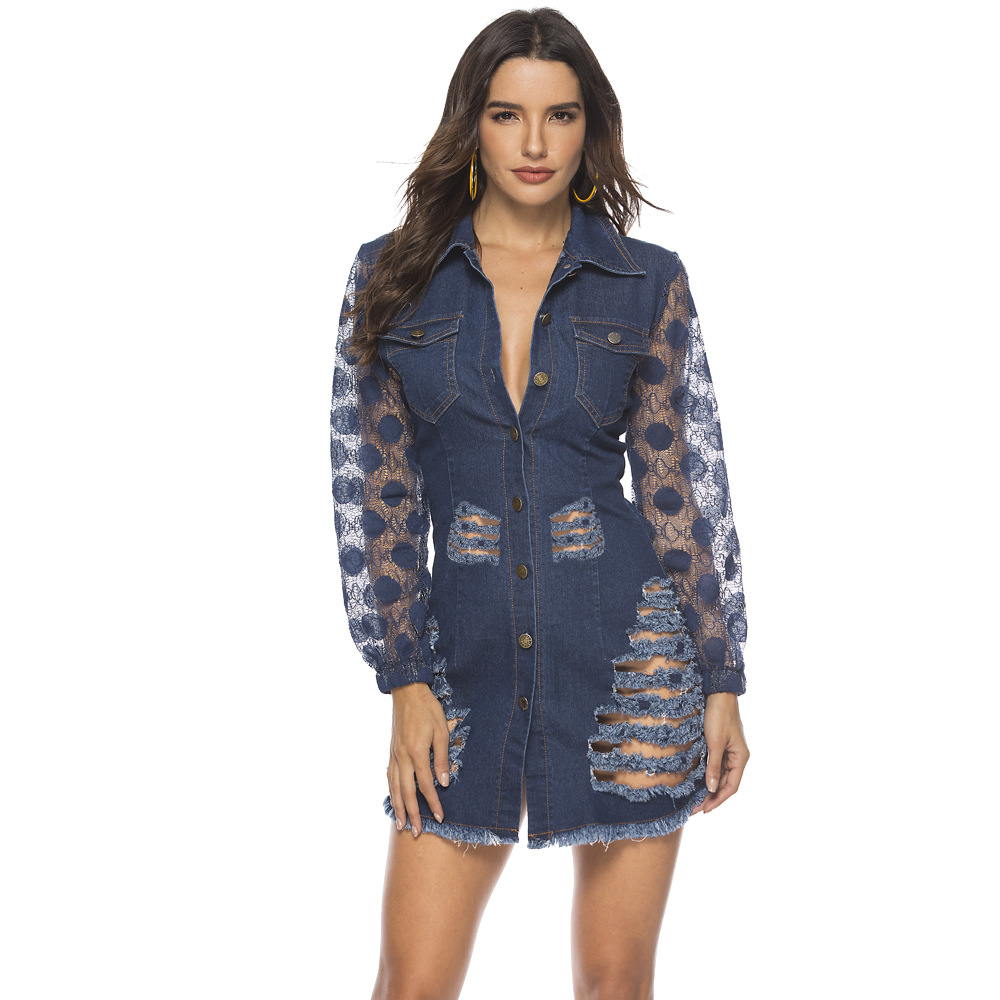 Adogirl polo collar long puff lace sleeve mini denim dress front scratch single breasted denim suits pocket buttoned elegant set in Dresses from Women 39 s Clothing
