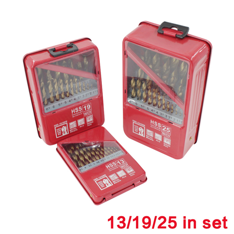1.0~13mm HSS Drill Bit Set Titanium Coated Metal Wood working Drilling Power Tools 13/19/25PCS Set Handle Tool